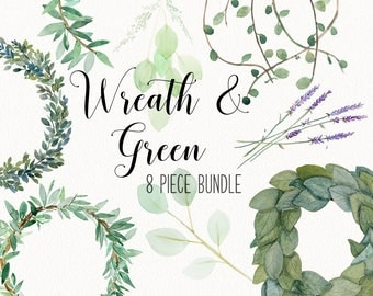 Greenery and wreath | BUNDLE | eucalyptus, vines, magnolia, olive branch, boxwood clip art -  INSTANT DOWNLOAD