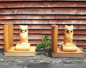 Vintage Wooden Carved Owl Bookends
