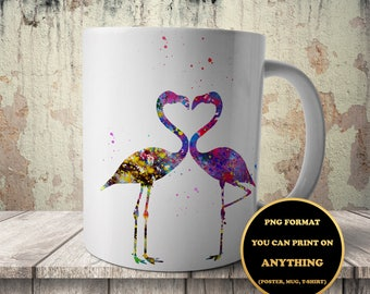 Flamingos in Love, print on anything, image on transparent background, digital file, Watercolor, printable wall art (108)