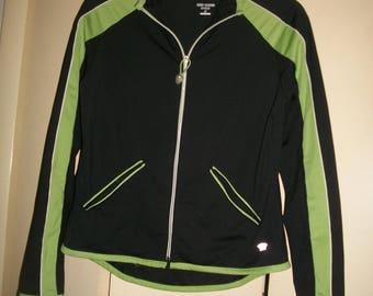 Vintage Oleg Cassini Black,Green Fitness Jacket, Activewear Jacket, Size S