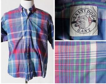 Vintage Men's Shirt Gant Salty Dog Plaid - 80's Retro XL Extra Large Pink Blue Short Sleeve Button Down