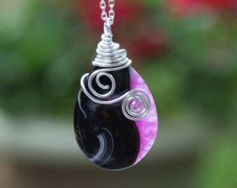 Necklace, Pendant, Wire-wrapped, Onyx, Agate, Gemstone, Teardrop, Jewelry, Birthday