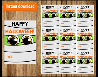 Mummy Thank You Tags - Halloween Tags - Halloween Favor Tags - Halloween Gift Tags - Halloween Labels - Halloween Treat Tags