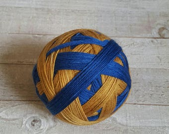 Hand Dyed Self Striping Sock Yarn ~ House Colors - Ravenclaw - Blue and Bronze