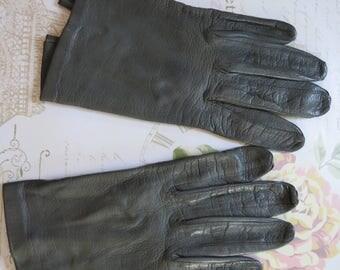 Vintage gray gloves gray gloves short gray gloves leather gloves gray leather gloves evening gloves gray evening gloves