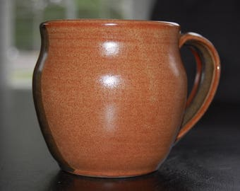 12 oz hand thrown coffee mug - nutmeg and red