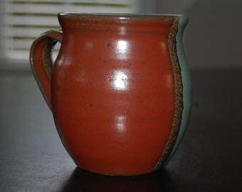 16 oz hand thrown coffee mug - jade green and red