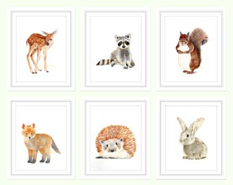 Nursery Prints Woodland Animals, Baby Prints Set, Nursery Decor, Watercolor Nursery Wall Art, Woodland Animals, Baby Woodland Nursery Prints
