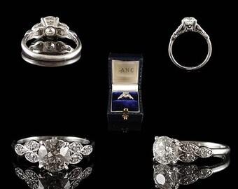 Vintage Platinum 1.35CT Diamond Engagement Ring