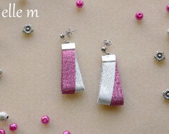 Earrings fabric lurex silver and pink, Christmas, holidays