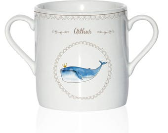 Custom Cup porcelain child - whale pattern