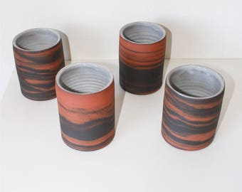 Set of 4 Marbled Ceramic Tumblers, Marbled Ceramic Mug, Ceramic Cup, Coffee cup, Tea Cup, Japanese Tea Cup