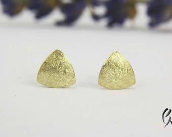 Earrings Gold 585/-, Mini triangle Matt scratched