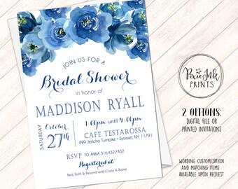 Bridal Shower Invitation, Floral Bridal Shower Invitation, Blue Floral Bridal Shower Invite, Navy Blue Bridal Shower Invitation, Printable