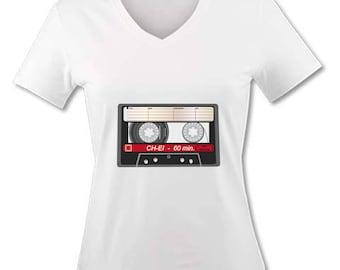 V neck women T-shirt - Cassette Audio vintage - K7