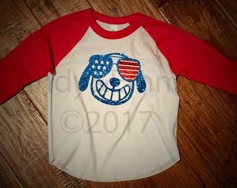 """Andy&Emma Original Design ©Puppy in Sunglasses"""" on AMERICAN APPAREL Toddler Baseball Tee"""