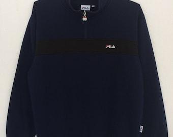 Rare!! Fila Spellout Embroidery Biella Italia Half Zipper Pullover Jumper Sweatshirt