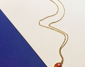 Semi stone and 16K gold plated necklace set carnelian necklace gemstone necklace elegant special occasion