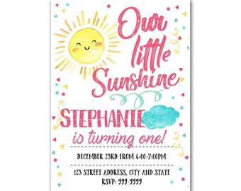 Sunshine Invitation - Sunshine Birthday Invitation - Sunshine invite - Sunshine Birthday Party - Sunshine - Instant Download