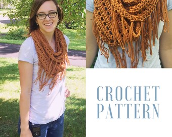 Ginny Scarf Crochet Pattern (Infinity Scarf with Optional Fringe)