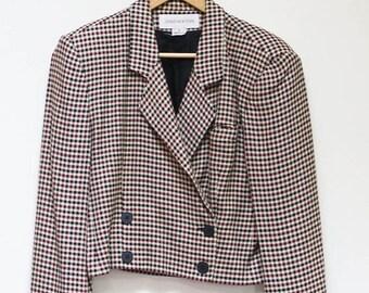 CLEARANCE SALE Vintage 80s Blazer Houndstooth Jones New York Womens Size 8 Retro Cutoff Blazer Cool 80s Blazer Shoulder Pads Made in USA