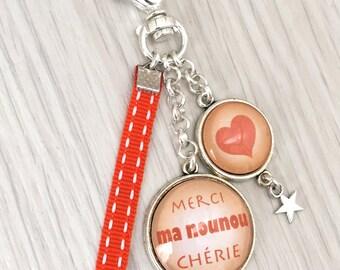 porte-clés bijou de sac a message  merci ma nounou orangé .REF.111