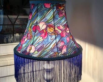 Victorian, Art deco lampshade, tiffany lampshade, lampshade, butterflies, irises, stained glass, fringe, gold, blue, green, 14 inches
