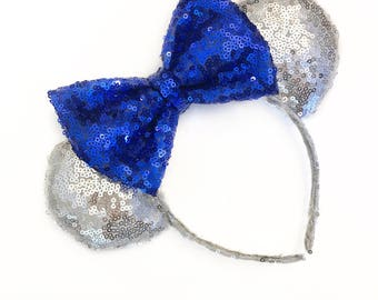 Silver & Royal Blue Sequin Ears