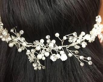 Wedding Hair Vine, Floral Hair Vine, Bridal Hair Accessory Silver and Gold # 30464
