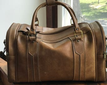 Vintage American Tourister Leather Duffle Travel Bag