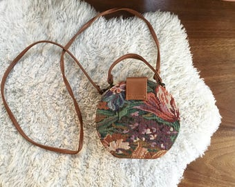 1990's Tapestry Bag | Small Purse Canteen Style | 1980 90's Handbag with Long Side Strap