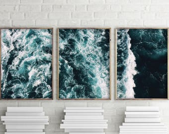 Modern Minimalist Set Of 3, Ocean Water Wall Art Print, Set Of 3 Print