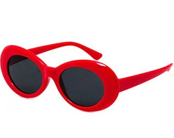 Red Oval Round Retro Clout Goggles