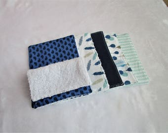 Set of 10 wipes/Washcloths in blue and green tones bamboo Terry and cotton