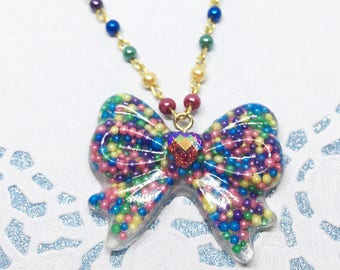 Rainbow Bow Necklace | Candy Necklace | Rainbow Necklace | Cult Party Kei Necklace | Decora Kei Necklace