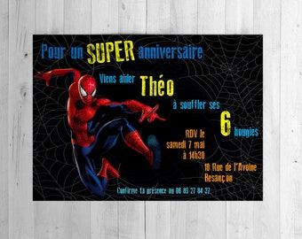 Spiderman invitation, card, invitation, birthday
