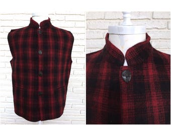Vintage Men's Red and Black Plaid Vest with Straight Collar African Mask Buttons