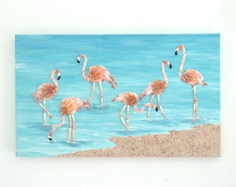 Acrylic Painting, Artwork with Seashells, Flamingos in Seashell Mosaic, Picture of Pink Flamingos on the Beach, Mosaic Art, 3D Wall Art