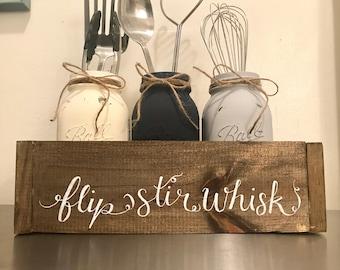 Handmade Utensil Holder - Rustic Kitchen Decor - Kitchen Decor - Mason Jar Utensil holder - Farmhouse Kitchen Decor -Utensil Holder
