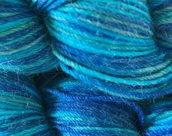 "Wool/ Alpaca/ Nylon Sock Yarn Hand-painted ""Serenity"""