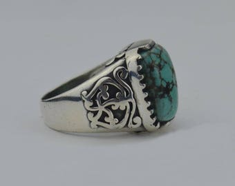 Sterling Silver 925 Estate Silpada Turquoise Ornate Ring Size 9