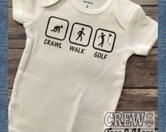 Crawl Walk Golf baby onesie, golf kid Bodysuit