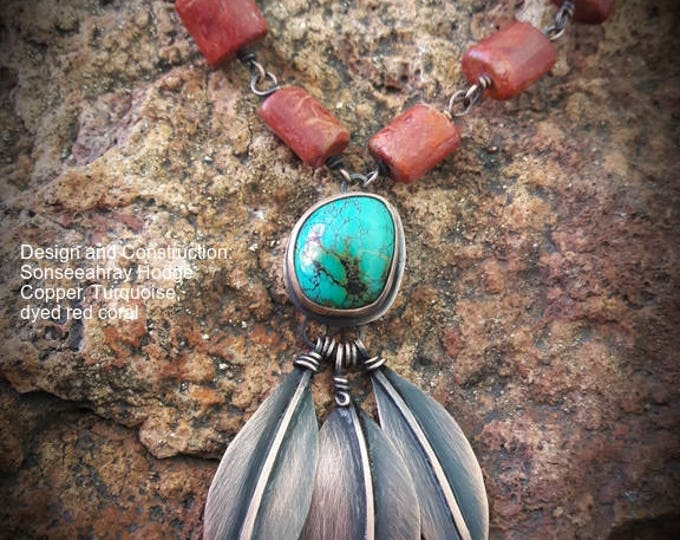 Tree of Life Turquoise copper and dyed red coral one of a kind arts and crafts movement inspired southwest necklace