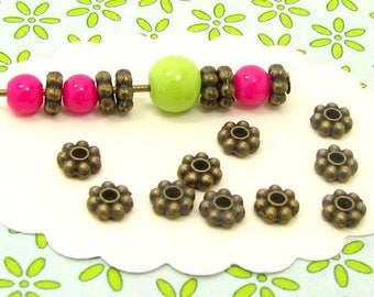 40 snowflake BB29 bronze color metal beads