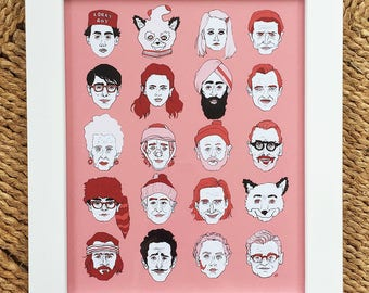 Wes Anderson Movie Characters Art Print -- Director Illustration Series