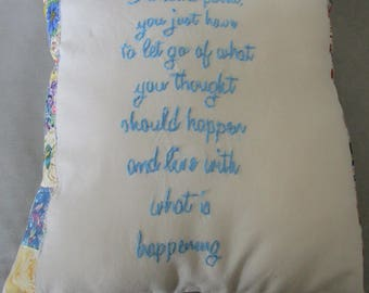 "Hand embroidered decorative pillow, 10"" x 10"", Inspirational Verse"