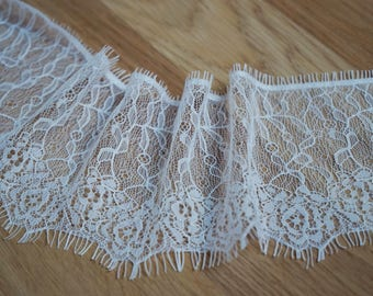 3 m * 10cm white offwhite lace chantilly lace fringe Ref. 2211