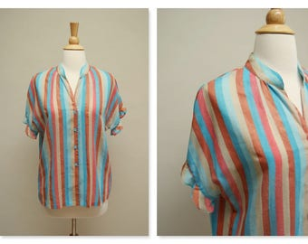 Vintage 70s Striped Blouse ⎮ 1970s Boho Top ⎮ Vintage Button Down Shirt Blue Copper Beige