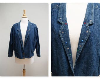 Vintage Bejeweled Denim Jacket ⎮ 1980s Dark Wash Bedazzled Denim Jacket ⎮ Jeweled 80s Boho Jean Jacket