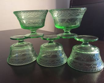 Vaseline glass- Set of 5 uranium glass sherbet cups Patrician spoke pattern by Federal Glass Co.
